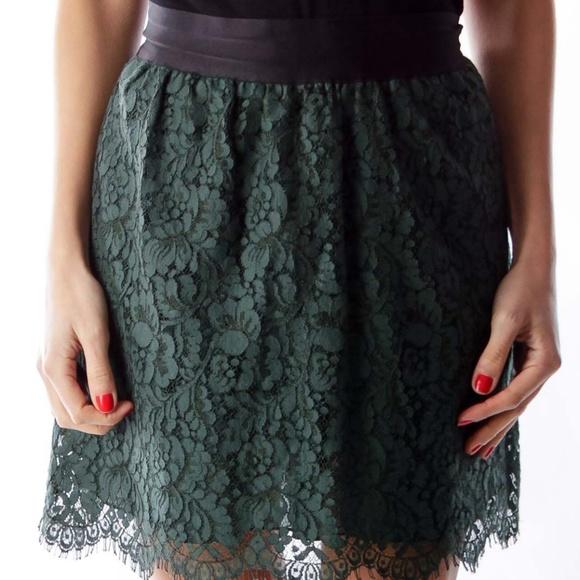 J. Crew Dresses & Skirts - J. Crew Dark Green Lace Mini-Skirt